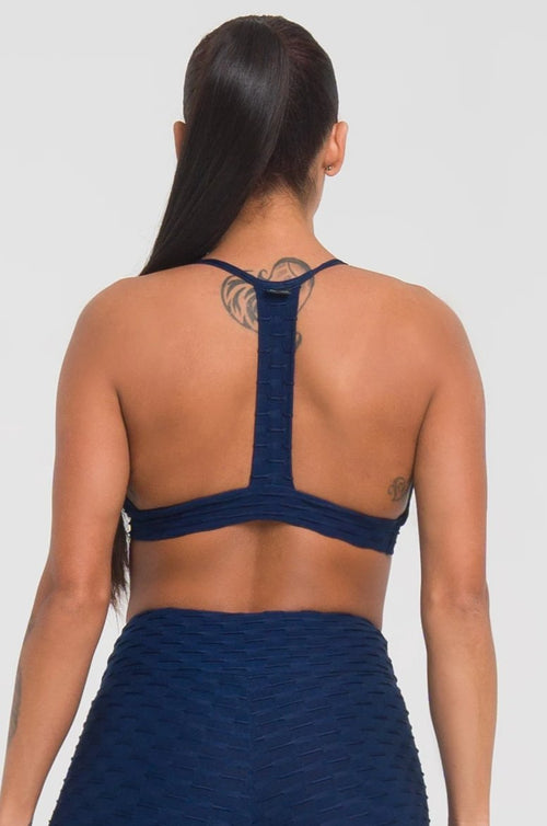 Navy Textured Strappy Bra
