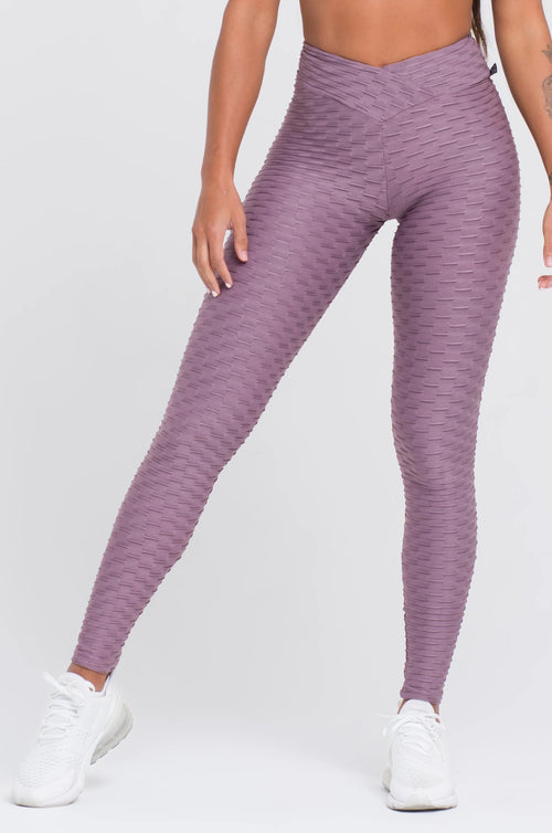 Mauve Textured V-Cut Scrunch Leggings