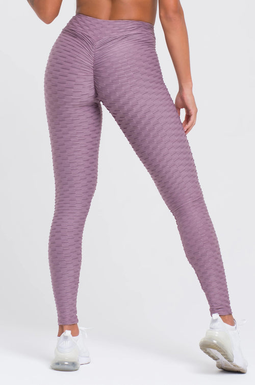 Mauve Textured V-Cut Scrunch Legging
