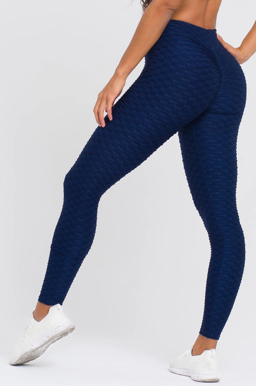 Navy Textured V-Cut Scrunch Leggings
