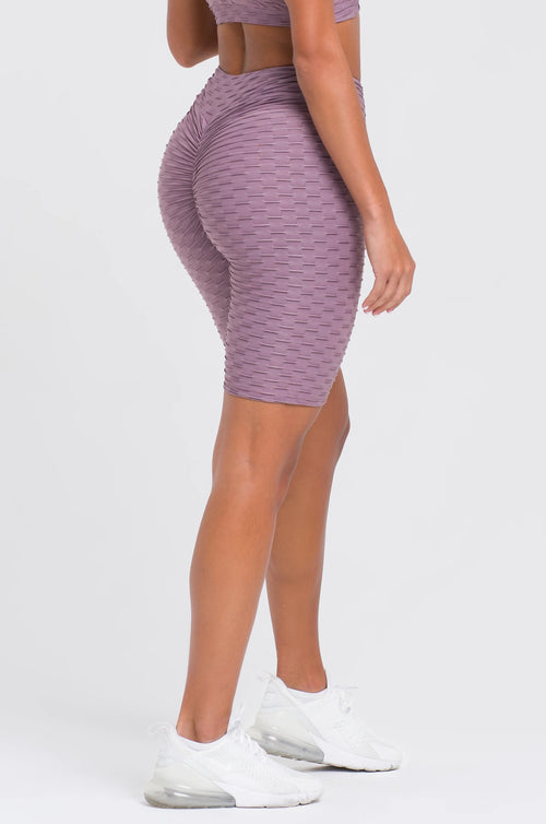 Mauve Textured V-Cut Scrunch Shorts
