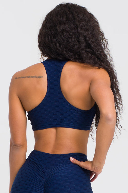 Navy Textured Bra