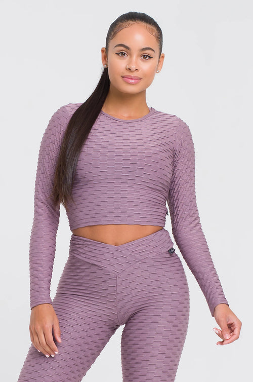 Mauve Textured Long Sleeve Crop Top
