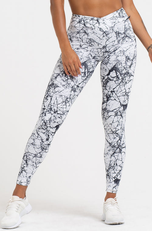Marble V-Cut Scrunch Legging