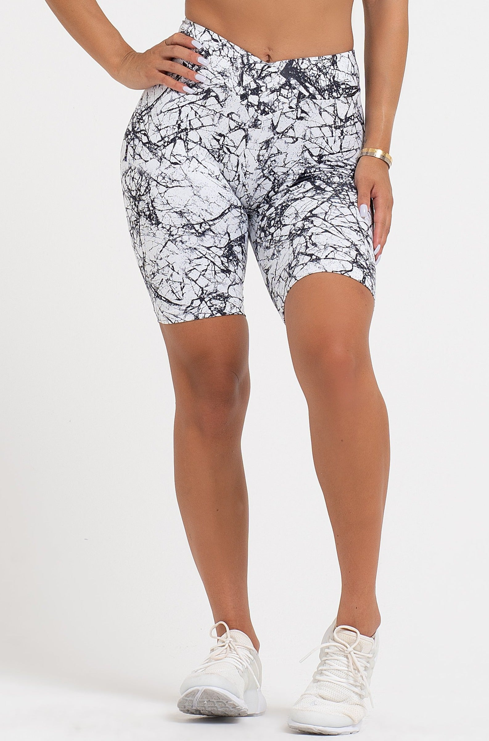 Marble V-Cut Scrunch Shorts