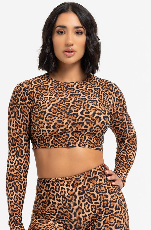 Cheetah Long Sleeve Crop Top