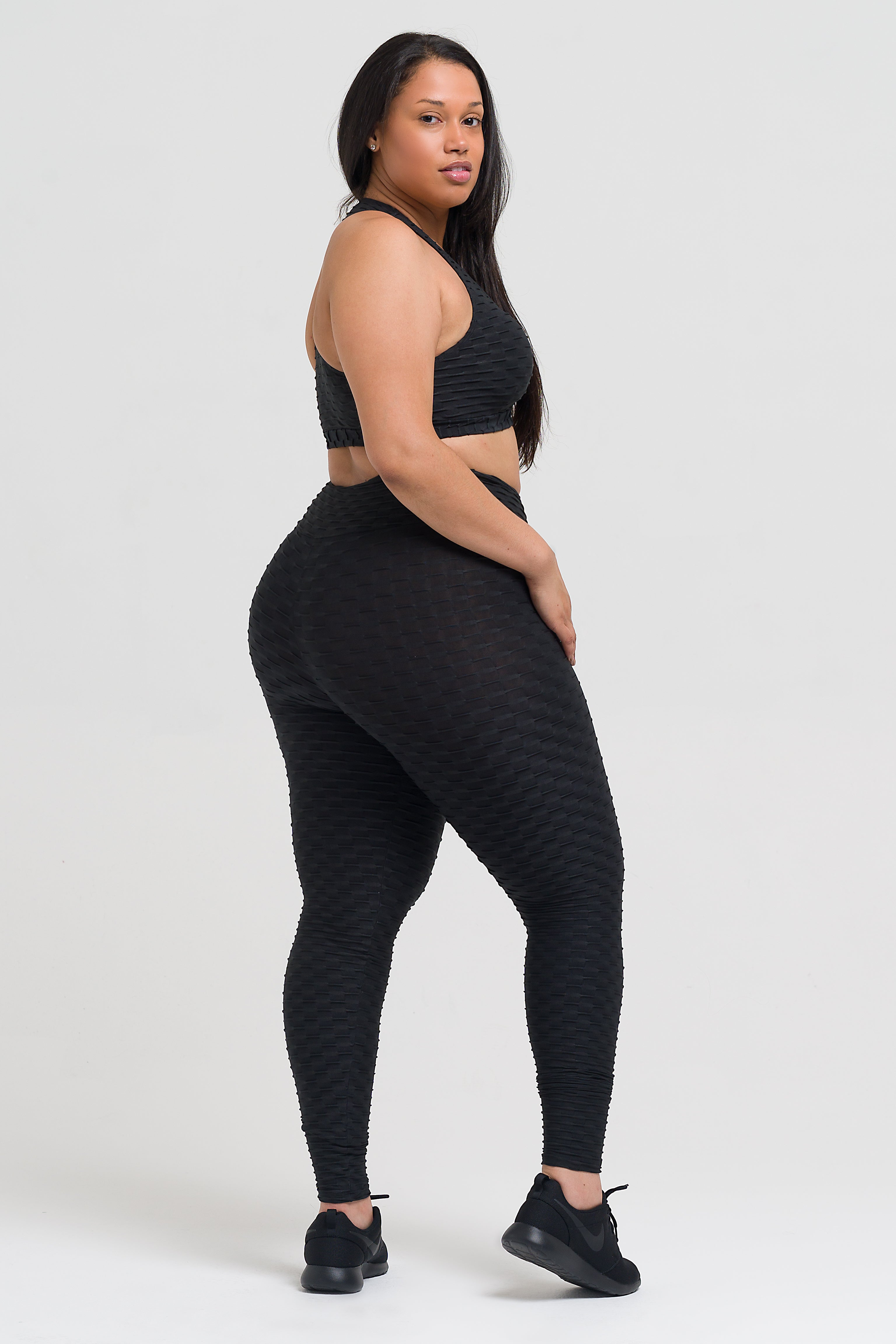 Black Textured Legging