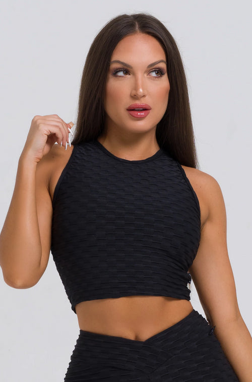 Black Textured Crop Top
