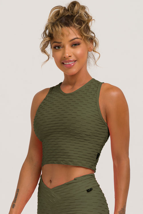 Olive Textured Crop Top