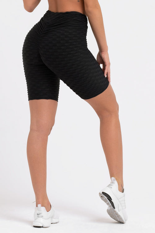Black Textured High Waist Scrunch Shorts
