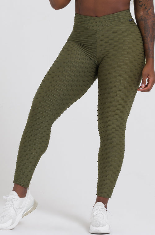 Olive Textured V-Cut Scrunch Leggings