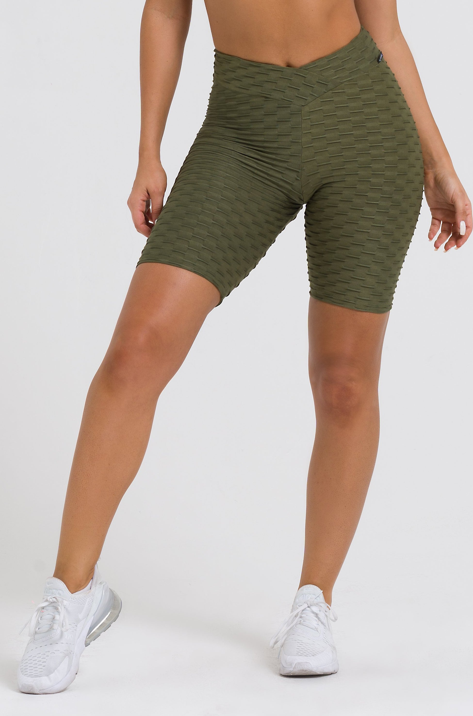 Olive Textured V-Cut Scrunch Biker Shorts