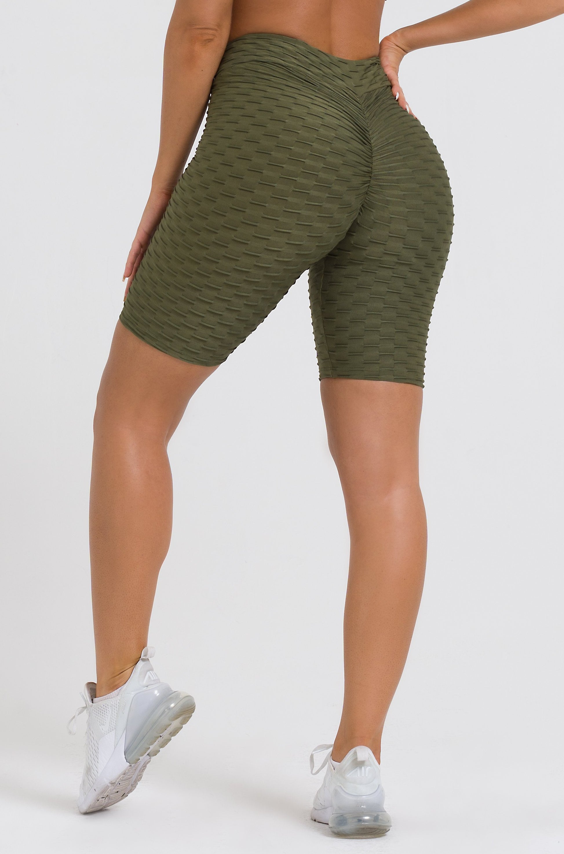 Olive Textured V-Cut Scrunch Long Biker Shorts