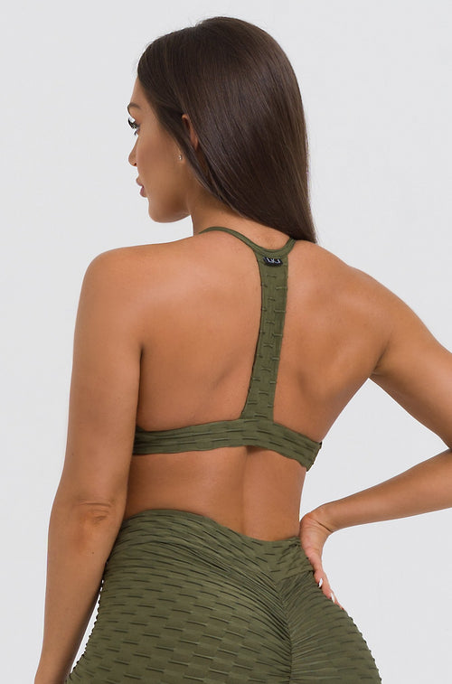 Olive Textured Strappy Bra