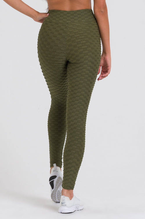 Olive Textured Leggings