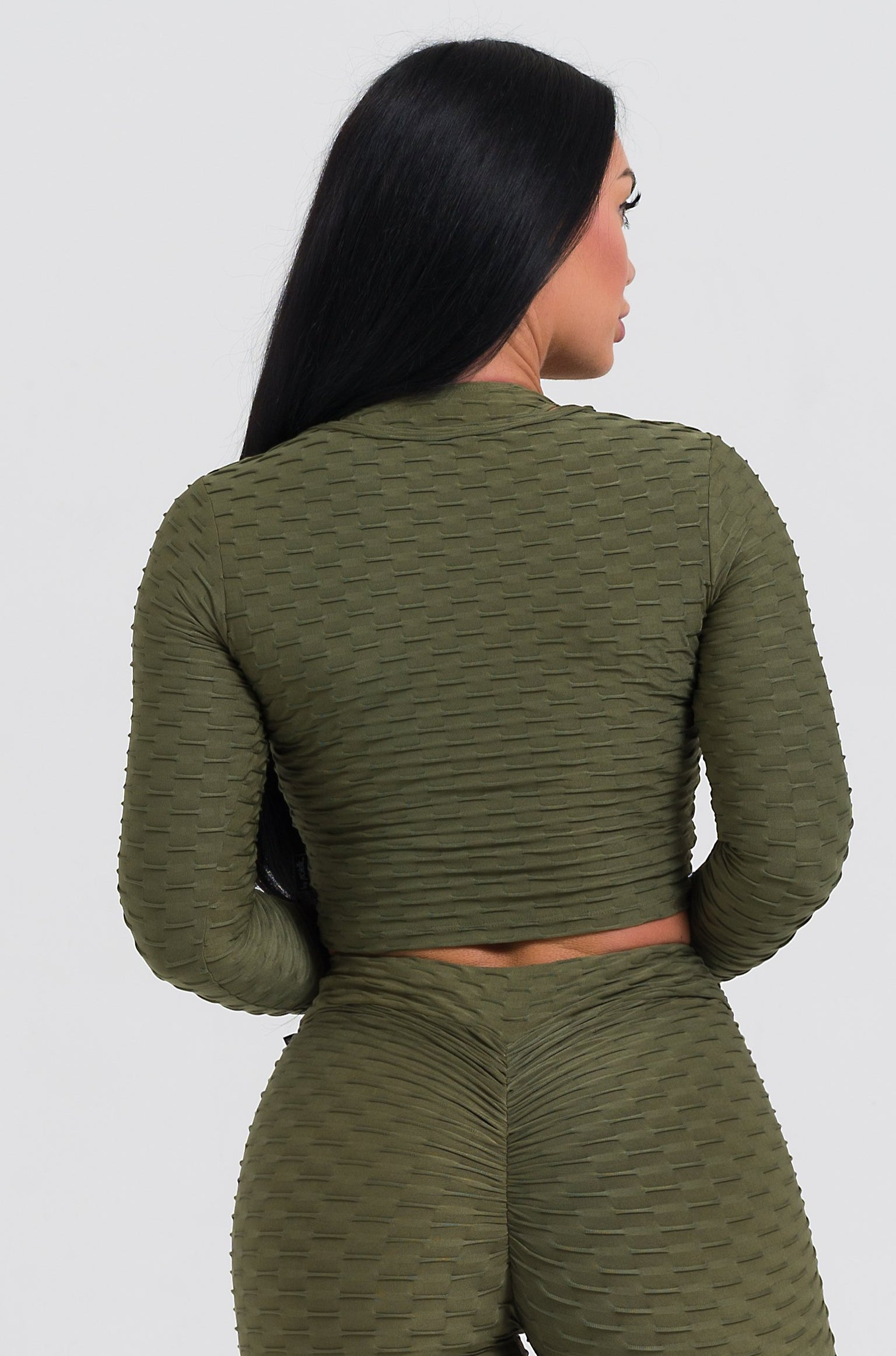 Olive Textured Long Sleeve Crop Top