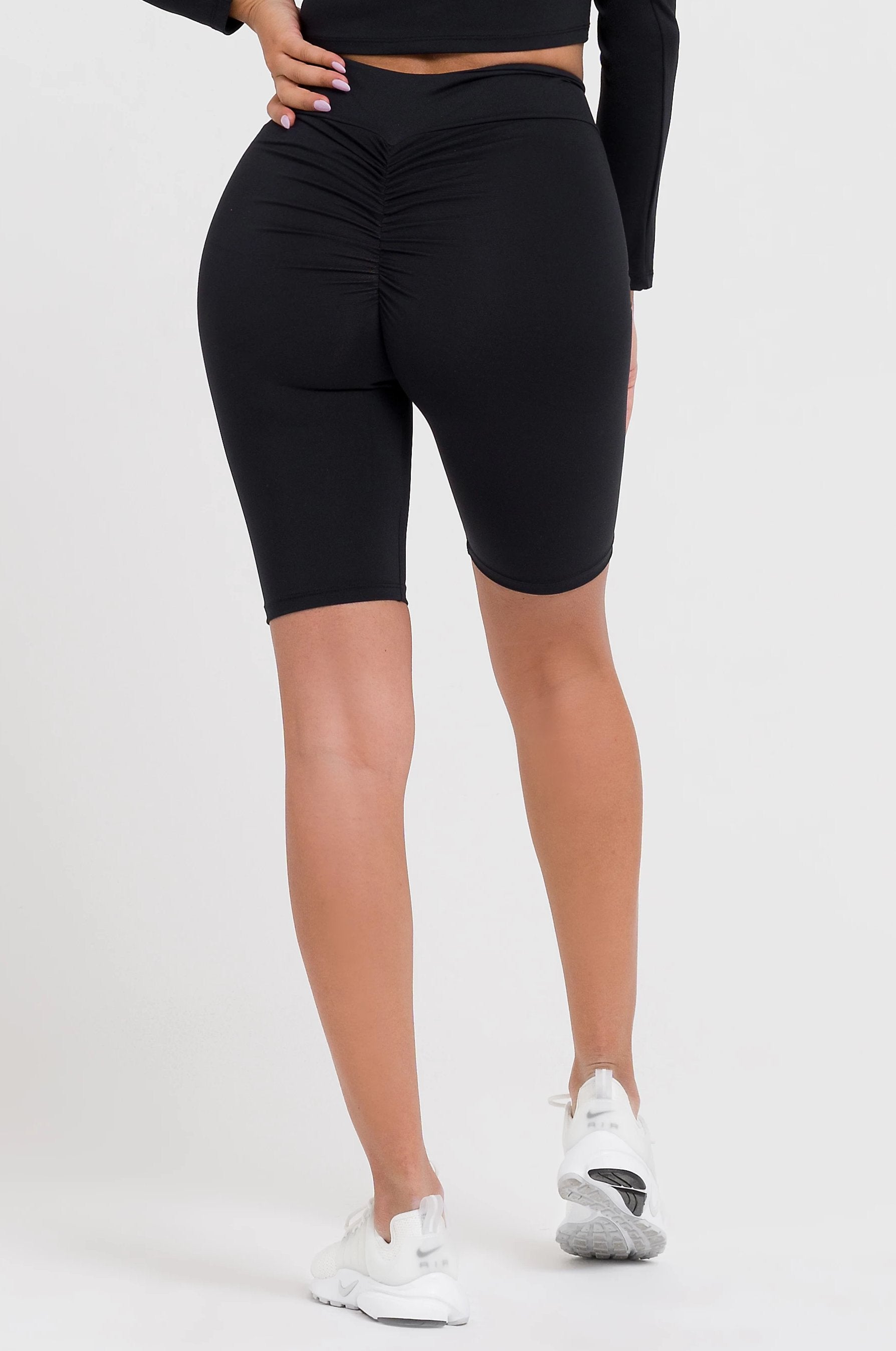 Solid Black V-Cut Scrunch Shorts