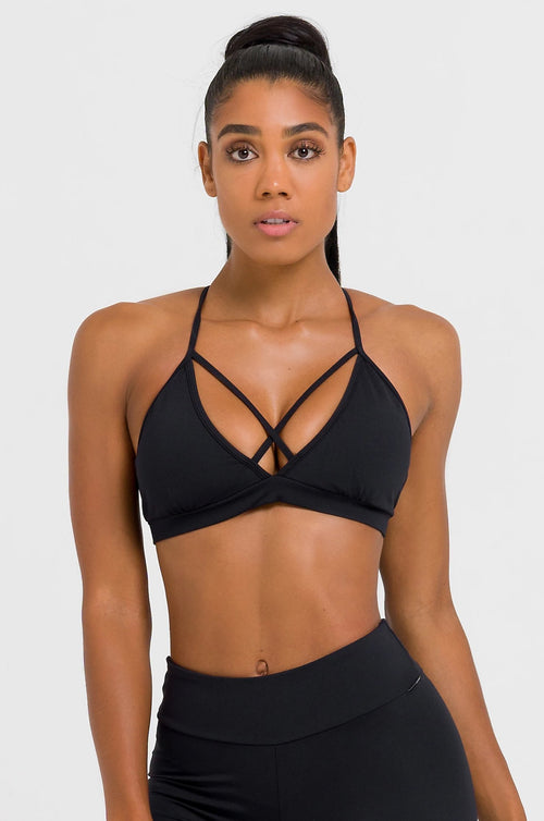 Solid Black Strappy Bra