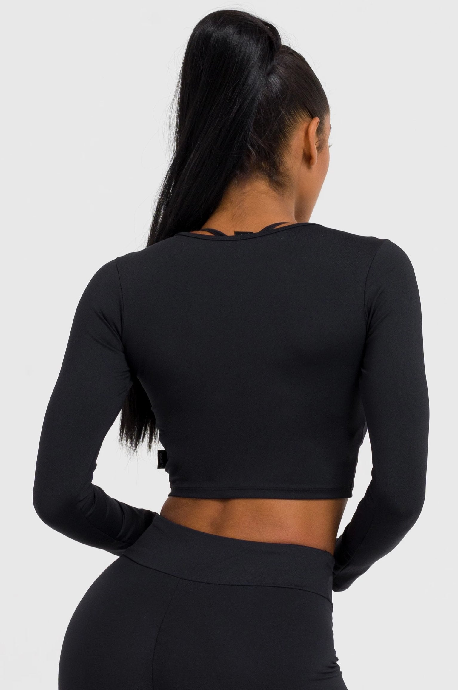 Solid Black Long Sleeve Crop