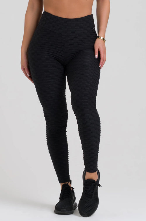 Black Textured High Waist Scrunch Leggings