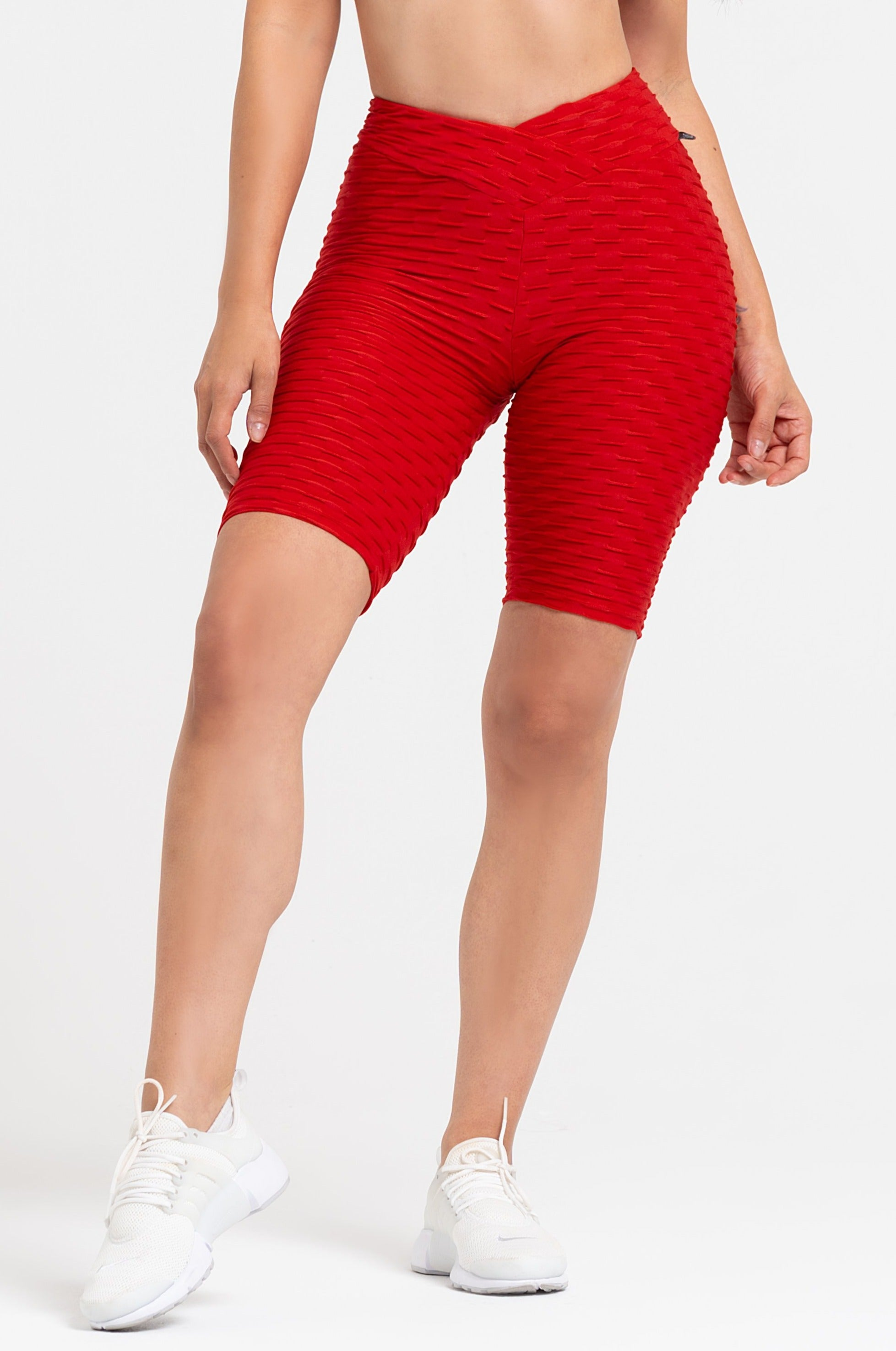 Red Textured V-Cut Scrunch Biker Shorts