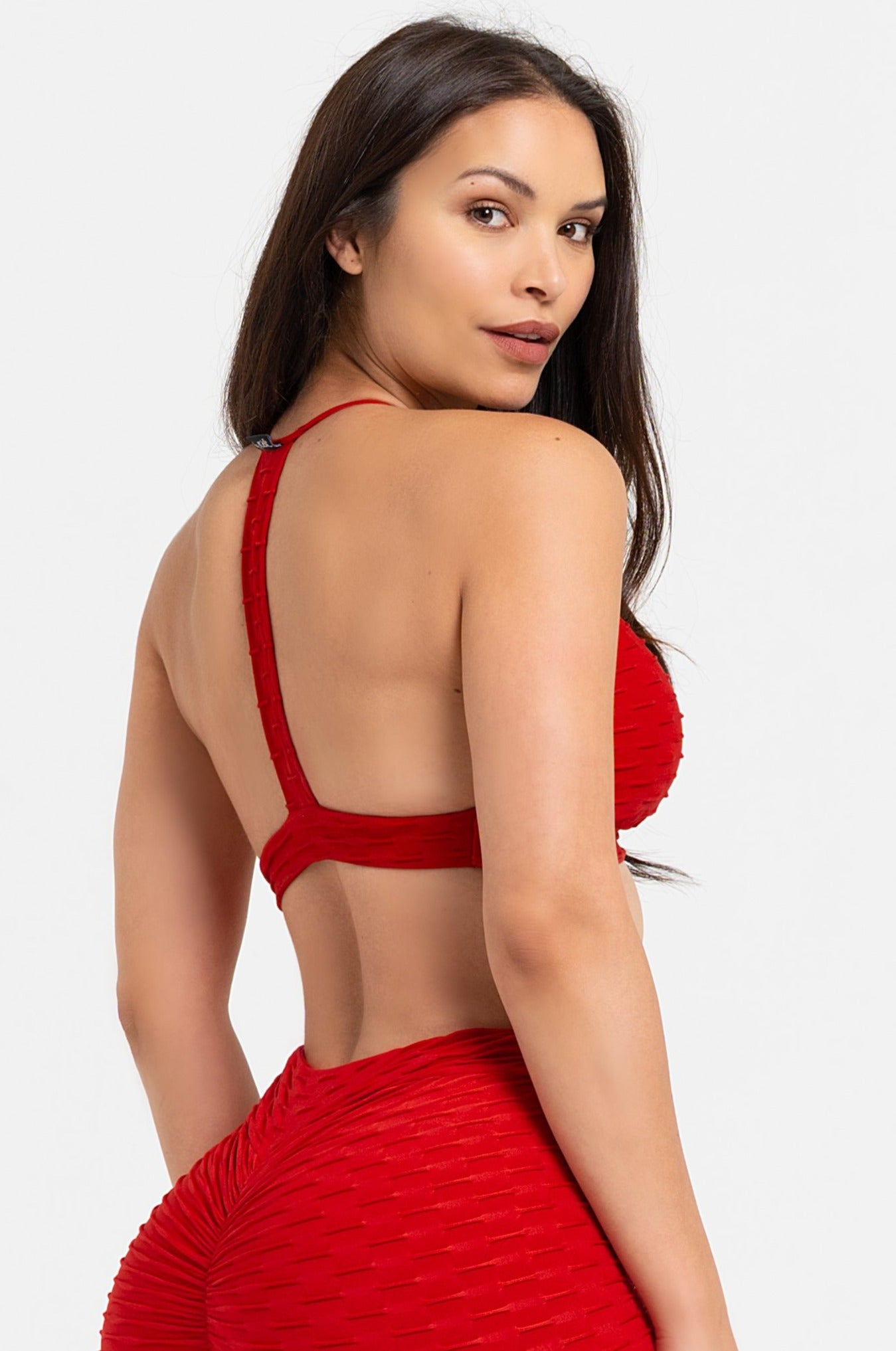 Red Textured Strappy Bra