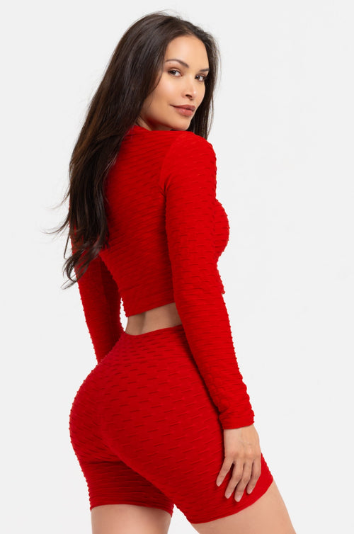 Red Textured Long Sleeve Crop Top