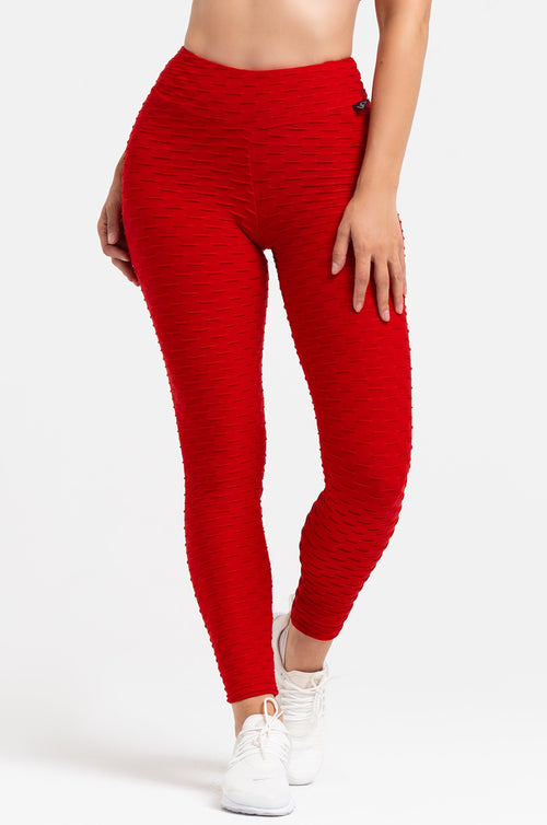 Red Textured High Waist Scrunch Leggings