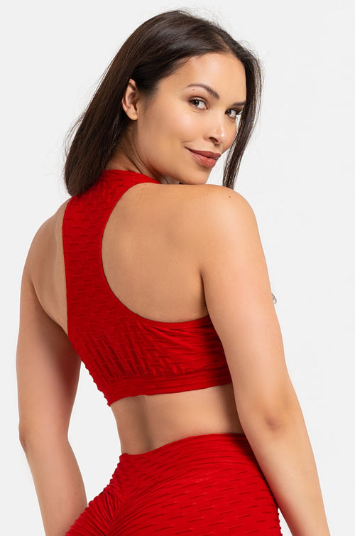 Red Textured Bra