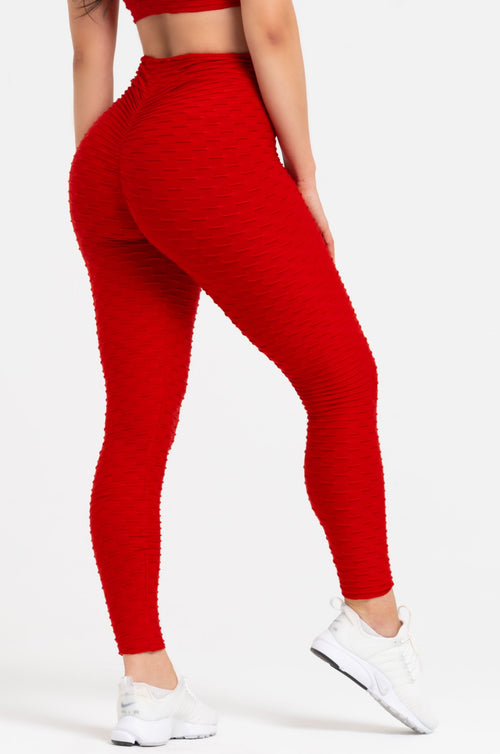 Red Textured V-Cut Scrunch Leggings