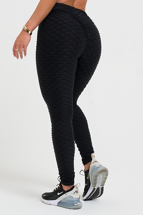 Black Textured V-Cut Scrunch Legging