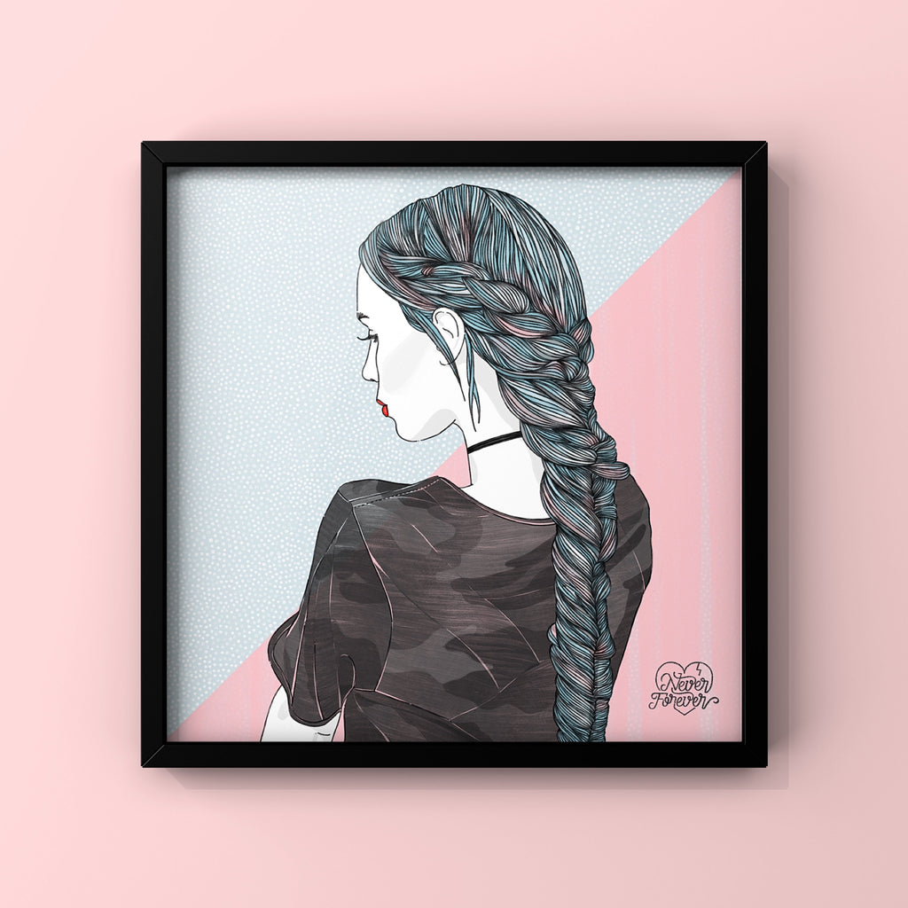 Camo and Braids - Art Print by Never Forever
