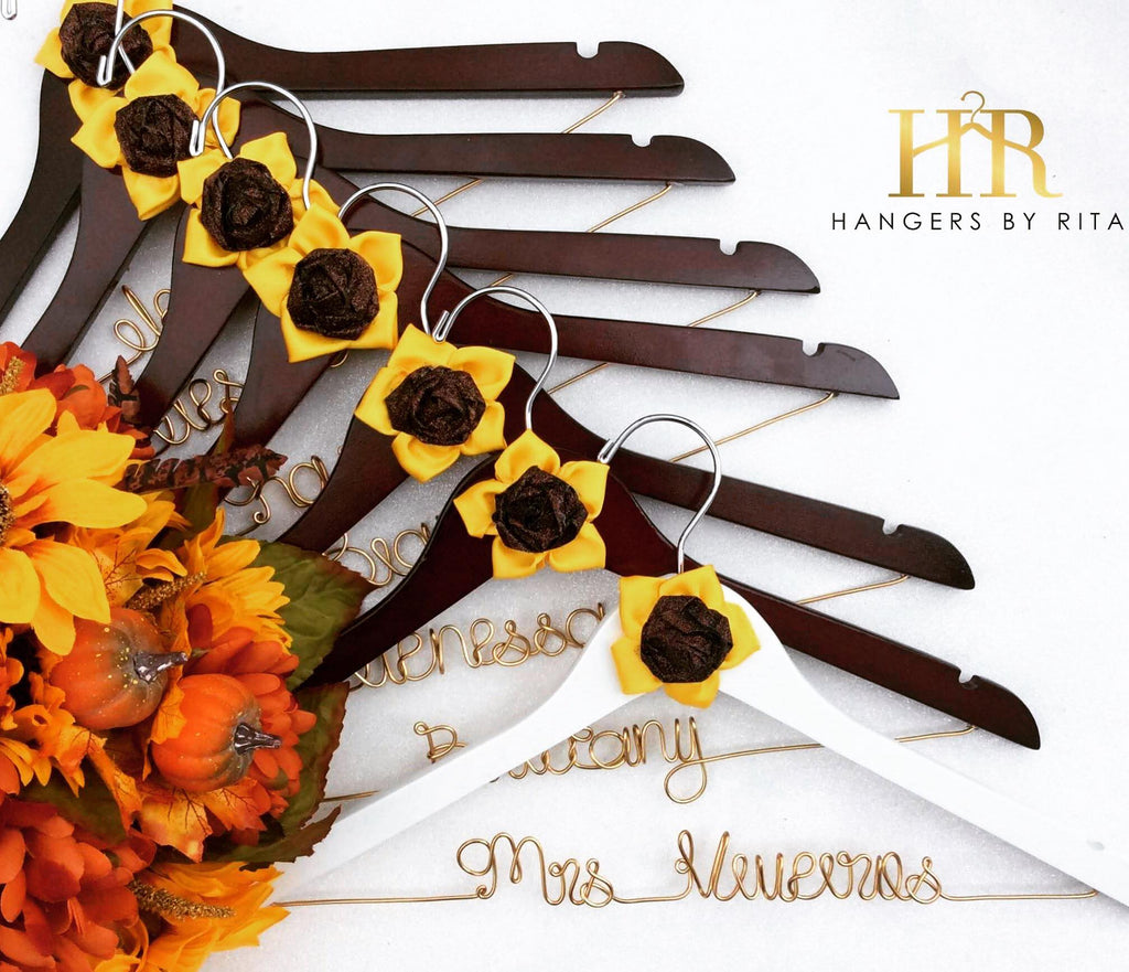 Sunflower Theme Bridesmaid Hangers
