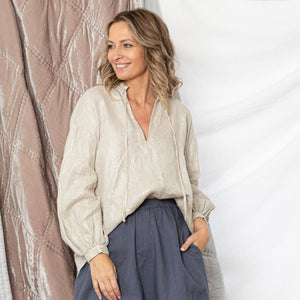 Ollie Linen Peasant Top - Natural
