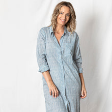 Lazy Cotton Shirt Dress - Blue Stripe