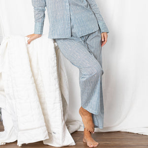 Lazy Cotton Pant  - Blue Stripe