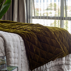 Grace Silk Velvet Coverlet - Antique Gold