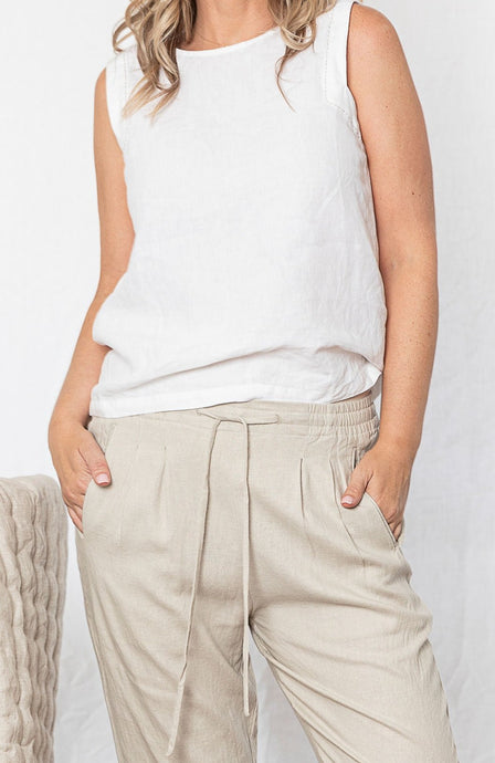 Sienna Linen Pant - Stone