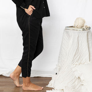 Harriet Linen Handstitched Pant - Black