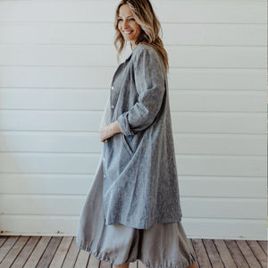 Frida Linen Jacket - Marled Grey