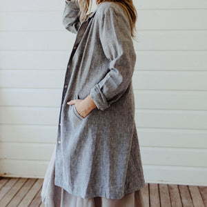 Frida Linen Jacket - Marled Black