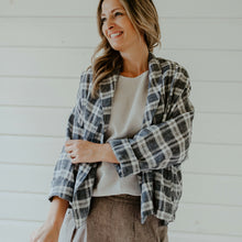 Gigi Linen Jacket - Black & White Check