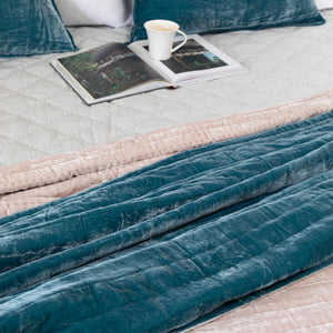 Tempt Silk Velvet Throw - Teal