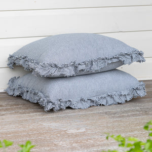 Isle Ruffled Linen Pillowcases - Denim Stripe