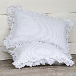 Isle Ruffled Linen Pillowcases - Ivory Pinstripe