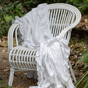 Isle Ruffled Linen Throw - Ivory Pinstripe