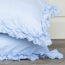 Isle Ruffled Linen Pillowcases - Pale Blue
