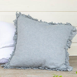 Isle Ruffled Linen Euros - Denim Stripe