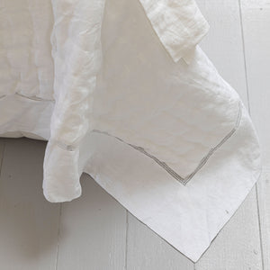 Bask Hemstitched Linen Quilt - White