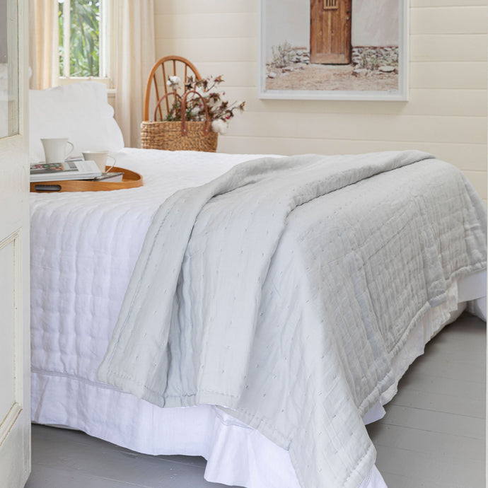Tempt Linen Throw - Grey & White